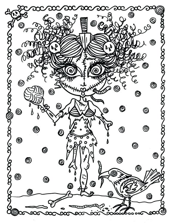 570x749 Detailed Halloween Coloring Pages Coloring Book Page Fantasy