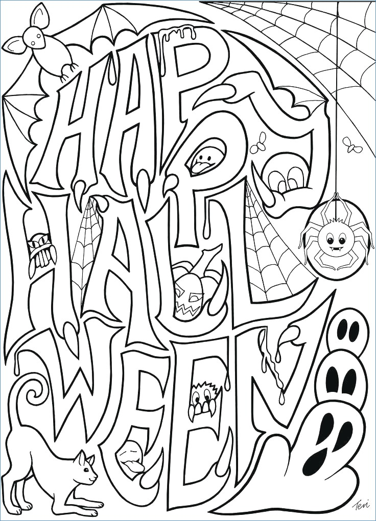 736x1021 Halloween Coloring Pages Advanced