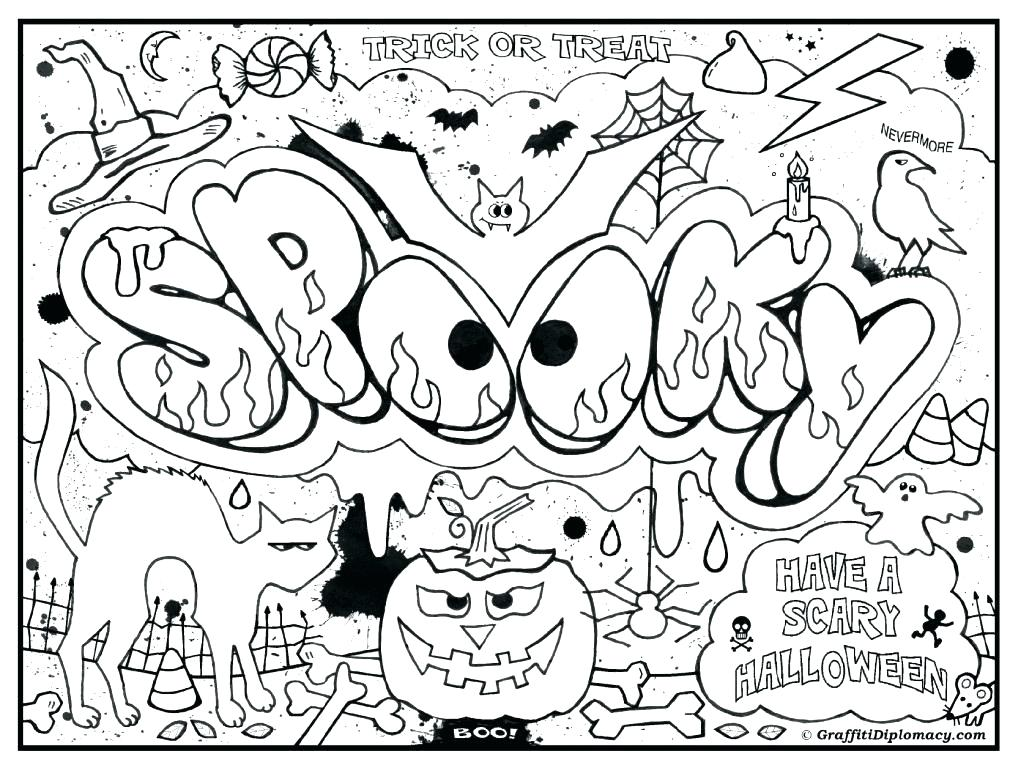 1021x768 Spooky Halloween Coloring Pages Spooky Coloring Pages Advanced
