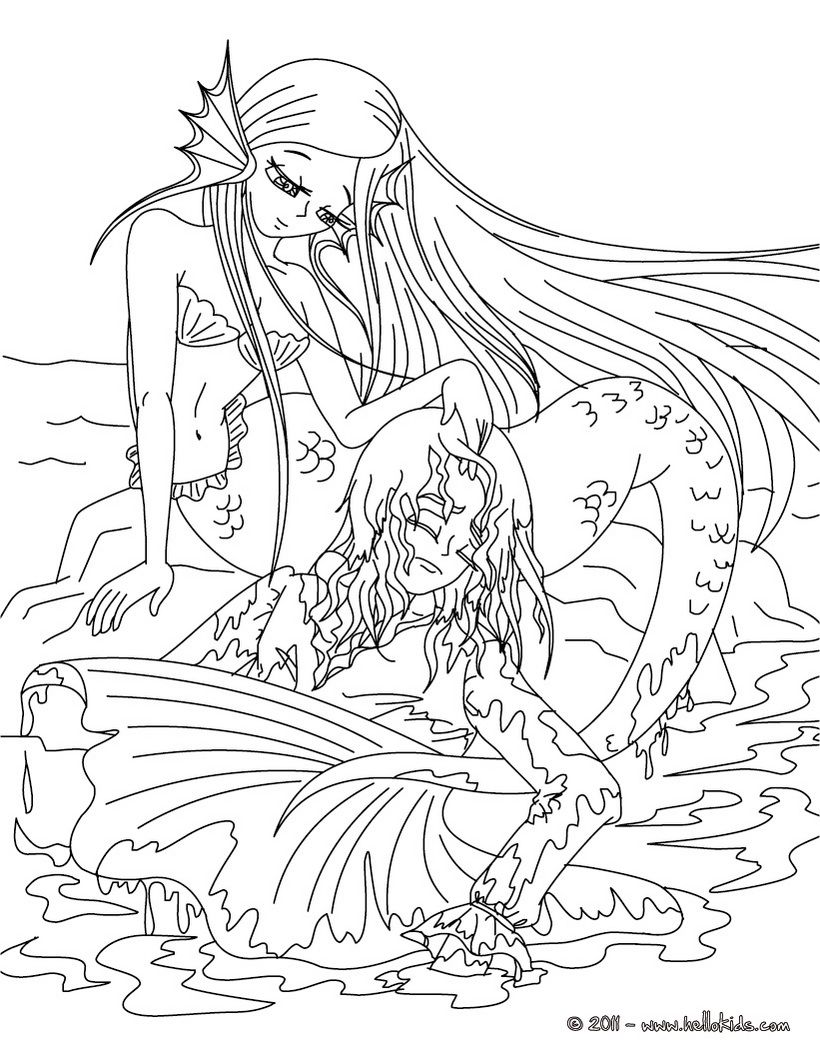 Advanced Mermaid Coloring Pages at GetDrawings.com | Free ...