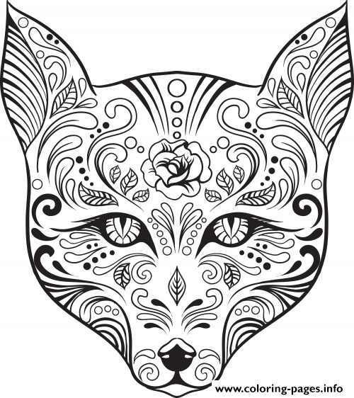 500x562 Advanced Cat Sugar Skull Coloring Pages Printable