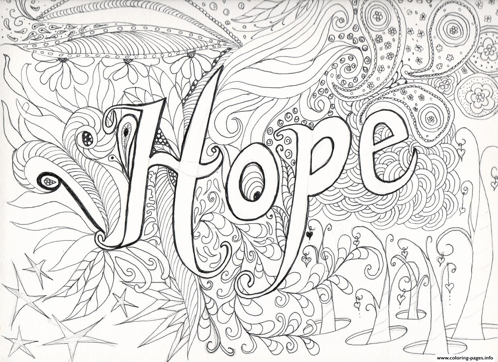 1600x1165 Advanced Difficult Hard Hope Message Adult Coloring Pages Printable
