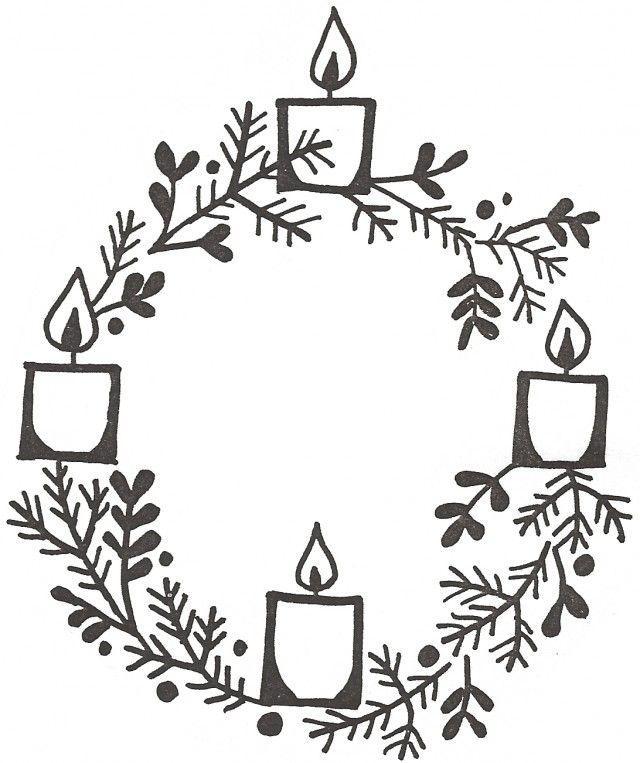 640x763 Advent Candles Wreath Colouring Pages Advent