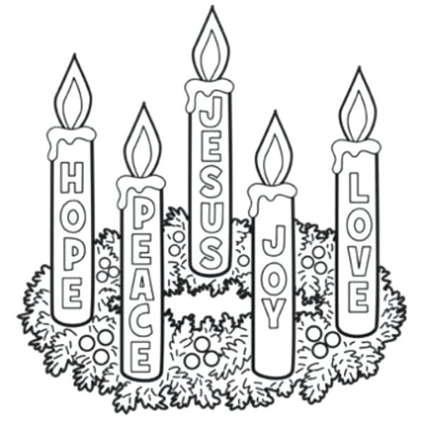 600x600 Wreath Coloring Page Advent Wreath Coloring Pages Page Inside