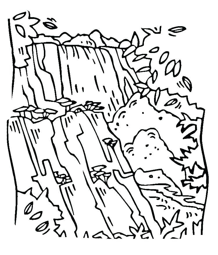 750x876 Africa Coloring Pages Waterfall Coloring Page African Animals