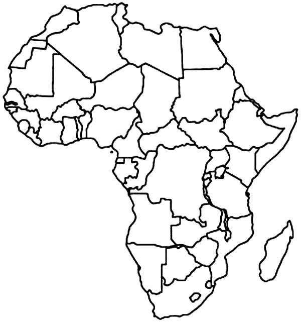600x645 Africa Coloring Sheet Africa Coloring Map Map Of Africa Coloring