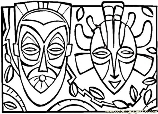 650x471 African Mask Coloring Page
