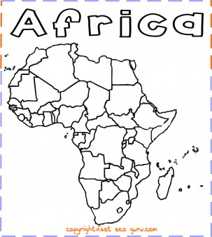 303x338 Printable Africa Map Coloring Page