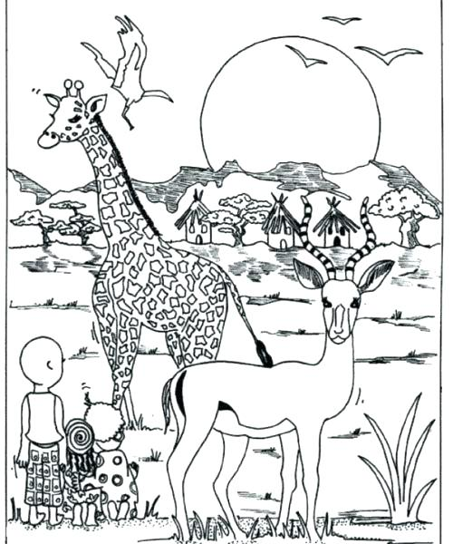 500x600 Africa Coloring Page Coloring Pages Together With Download