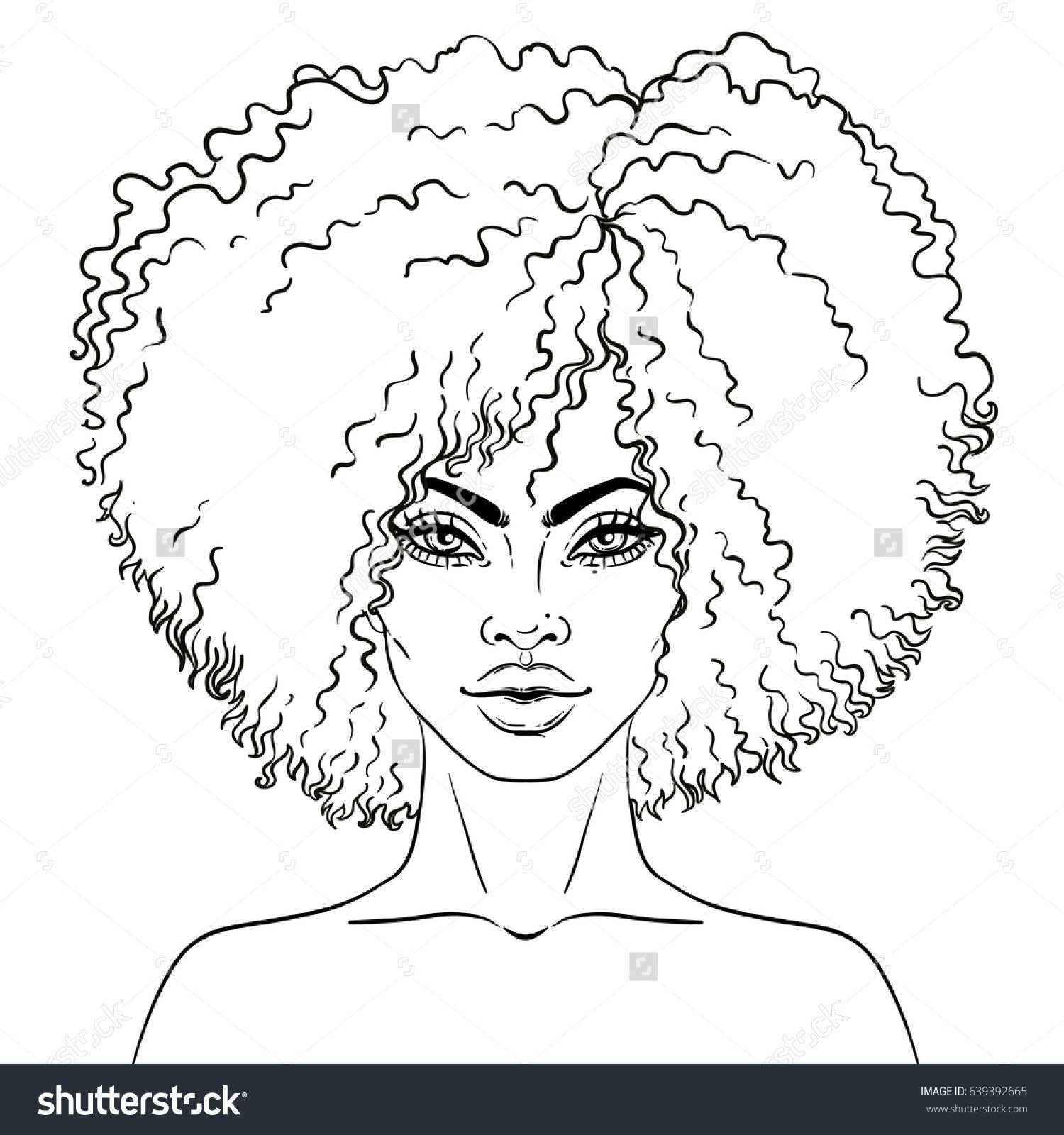 1500x1600 African American Pretty Girl Vector Illustration Of Black Woman