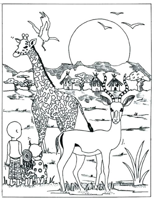 500x643 African Animal Coloring Pages Coloring Pages Animals Coloring Page