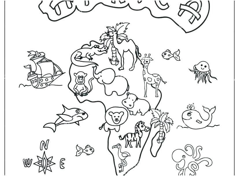 827x609 Africa Coloring Page Savanna A Waterfall From African Savanna