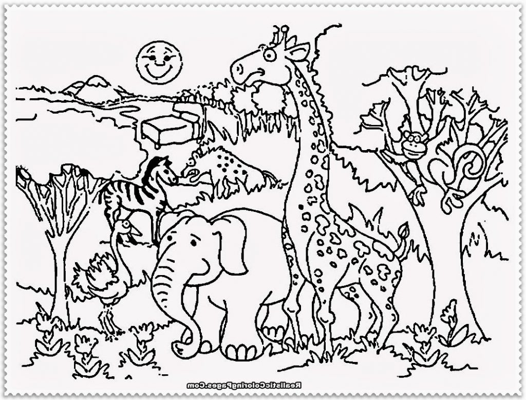 1024x778 Coloring Pages Animals Jungle For African Kids Free Printable