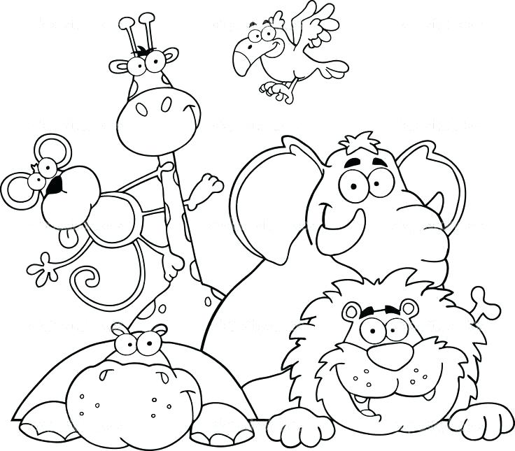 736x645 Printable Coloring Pages African Animals Cooloring Com Within