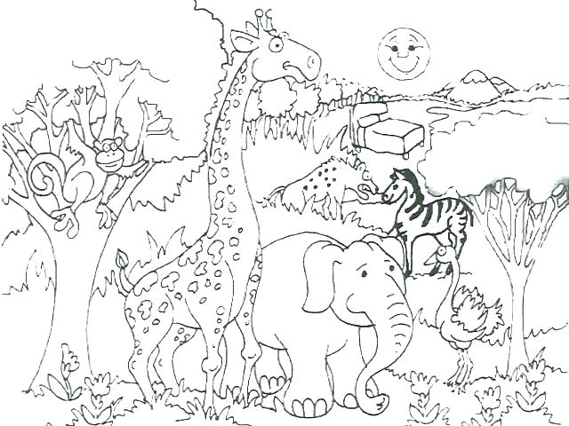 640x480 Africa Coloring Pages Waterfall Coloring Page African Animals