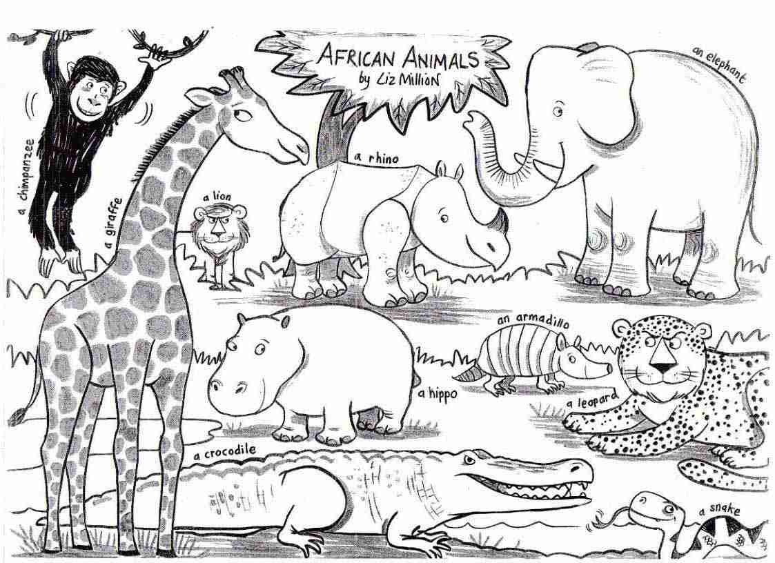 1123x816 African Animal Coloring Pages Olegratiy