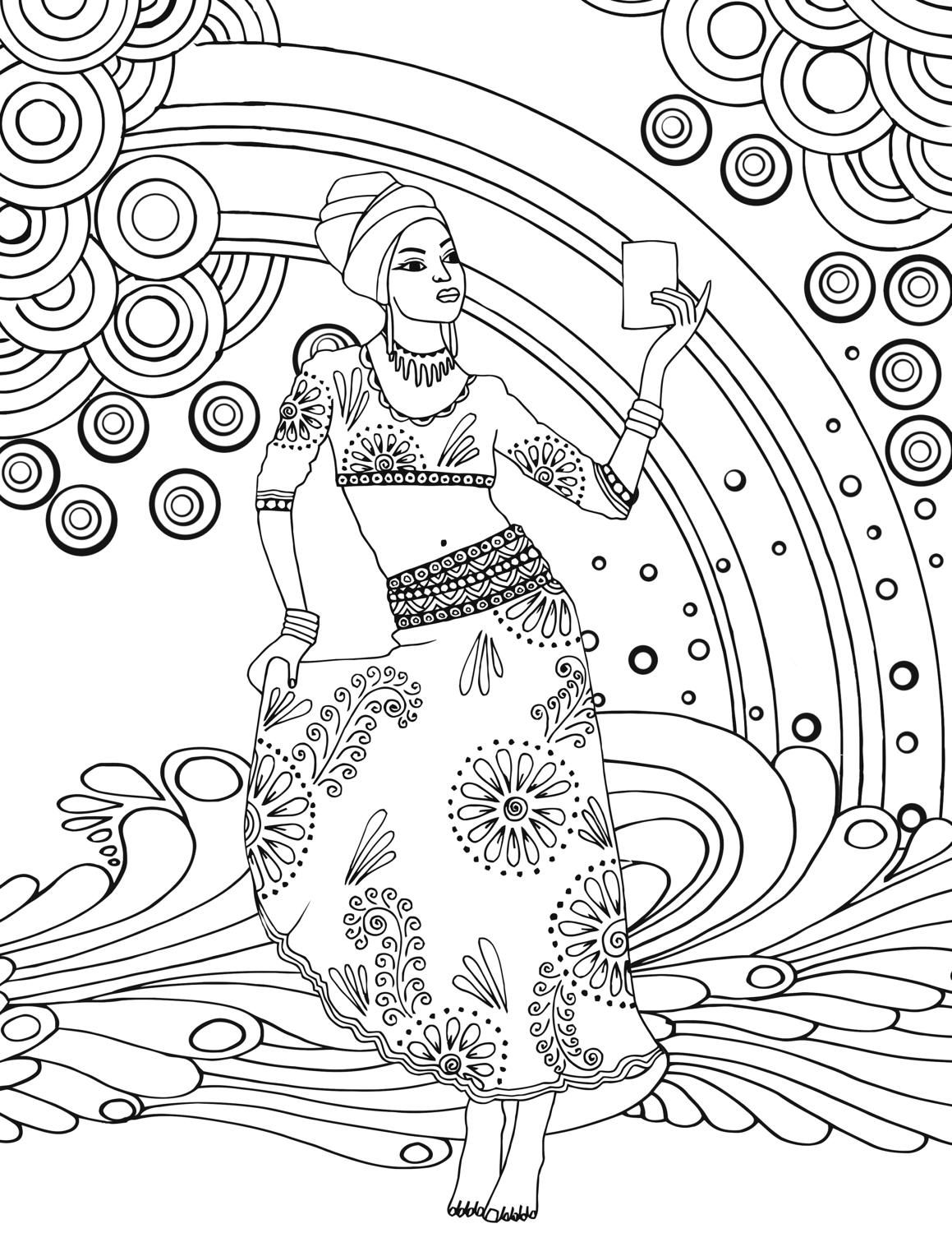 1159x1500 African Goddess Adult Colouring Page, Printable Coloring Pages Zen