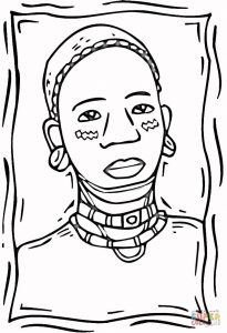 205x300 African Culture Lady And Zebra Coloring Page