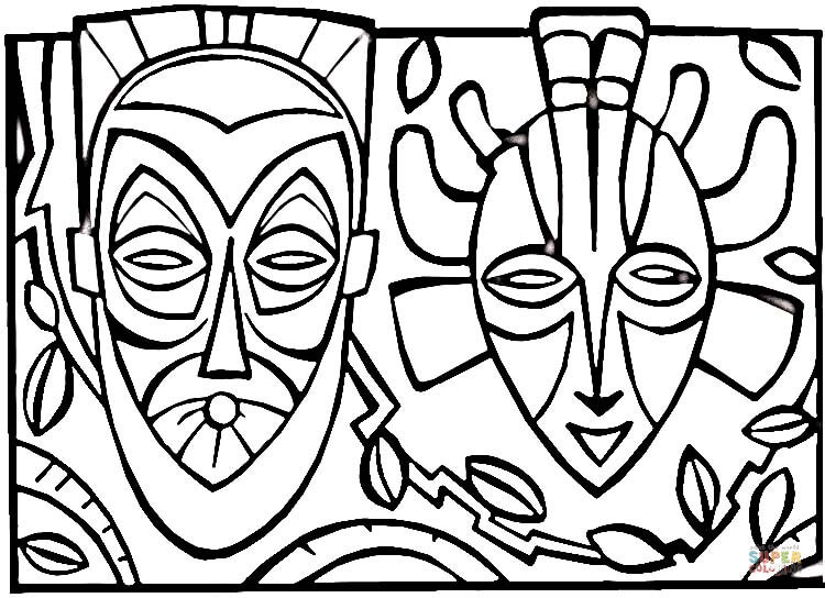 750x544 African Culture Mask Coloring Page