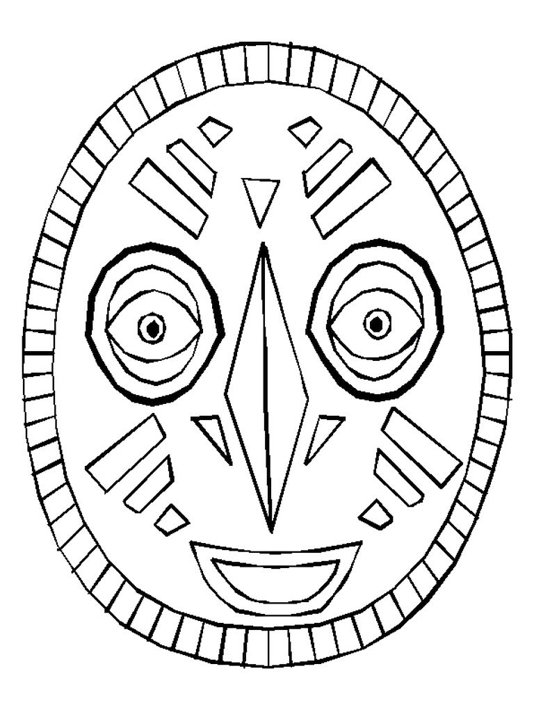 768x1024 Use The African Mask As A Coloring Page Or Copy The Pattern Onto