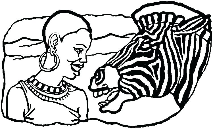750x455 Africa Coloring Pages Culture Lady And Zebra Coloring Page