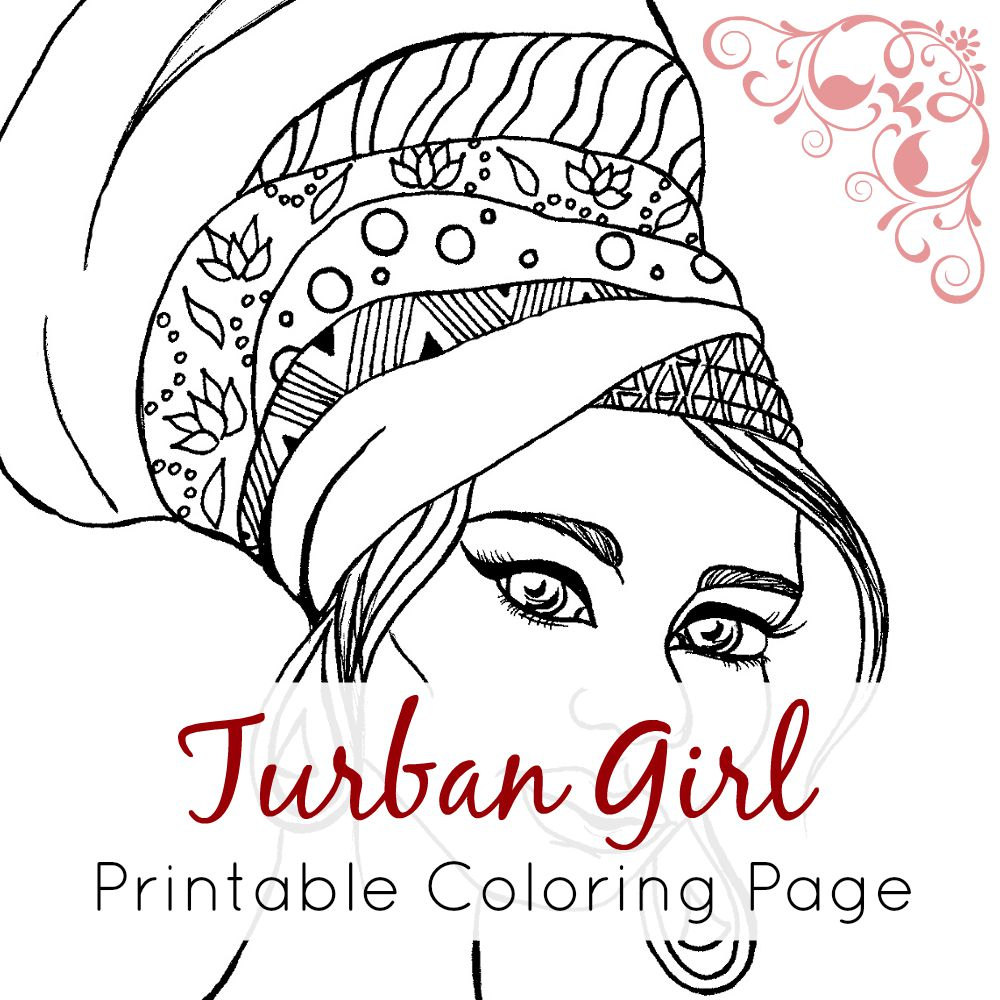 1000x1000 African Girl Coloring Page African Girl With Turban