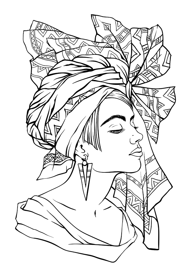 630x900 African Queen Coloring Pages Copy Stock Vector Beautiful Fashion
