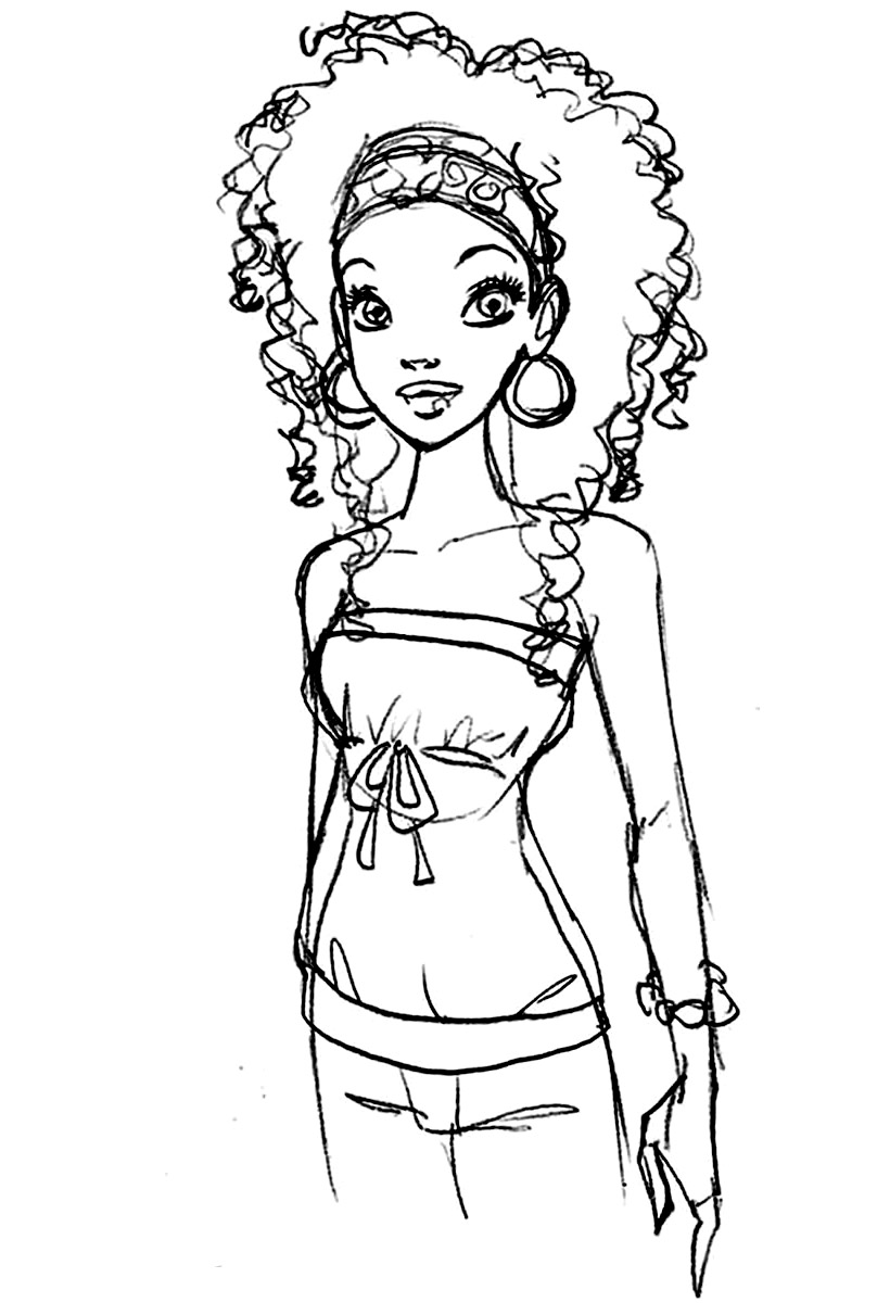 820x1200 Barbie Coloring Pages Black Or Ethnic Barbie Coloring Sheet