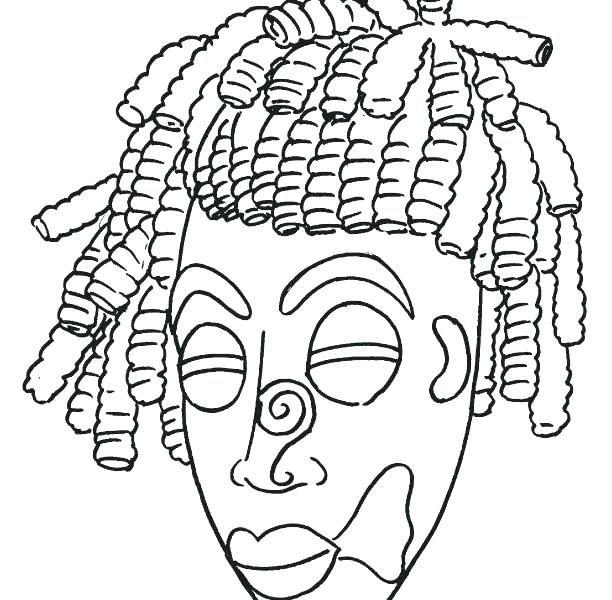 612x600 African Masks Coloring Pages Mask African Mask Coloring Page