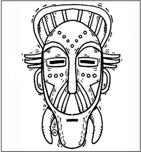 566x609 Free African Mask Coloring Pages African Mask Coloring Page