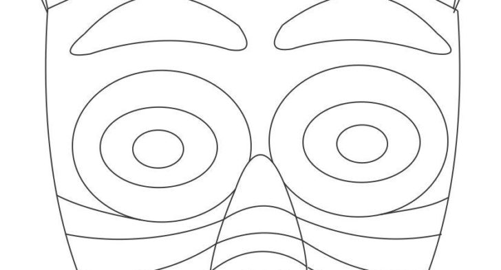 728x393 African Coloring Pages Of Masks African Wooden Mask Coloring Page
