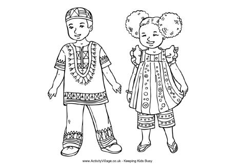 460x325 African Children Colouring Page