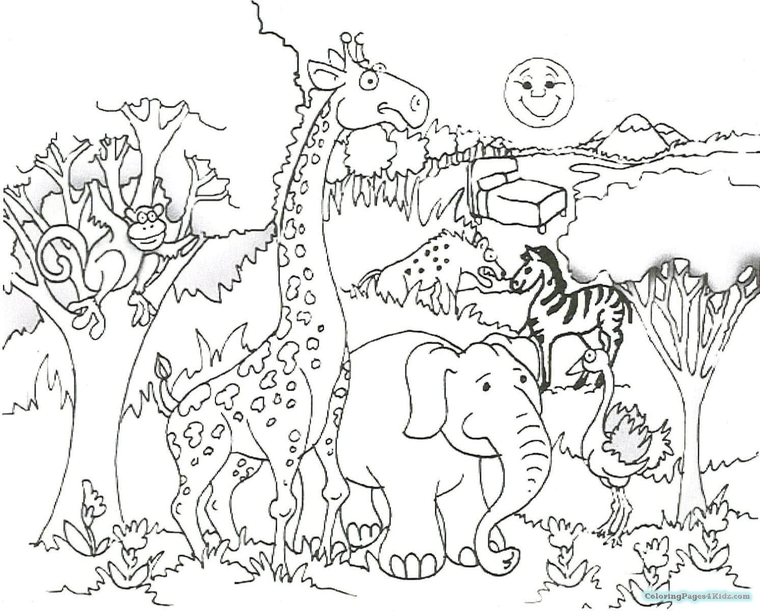 African Safari Animals Coloring Pages at GetDrawings.com | Free for ...