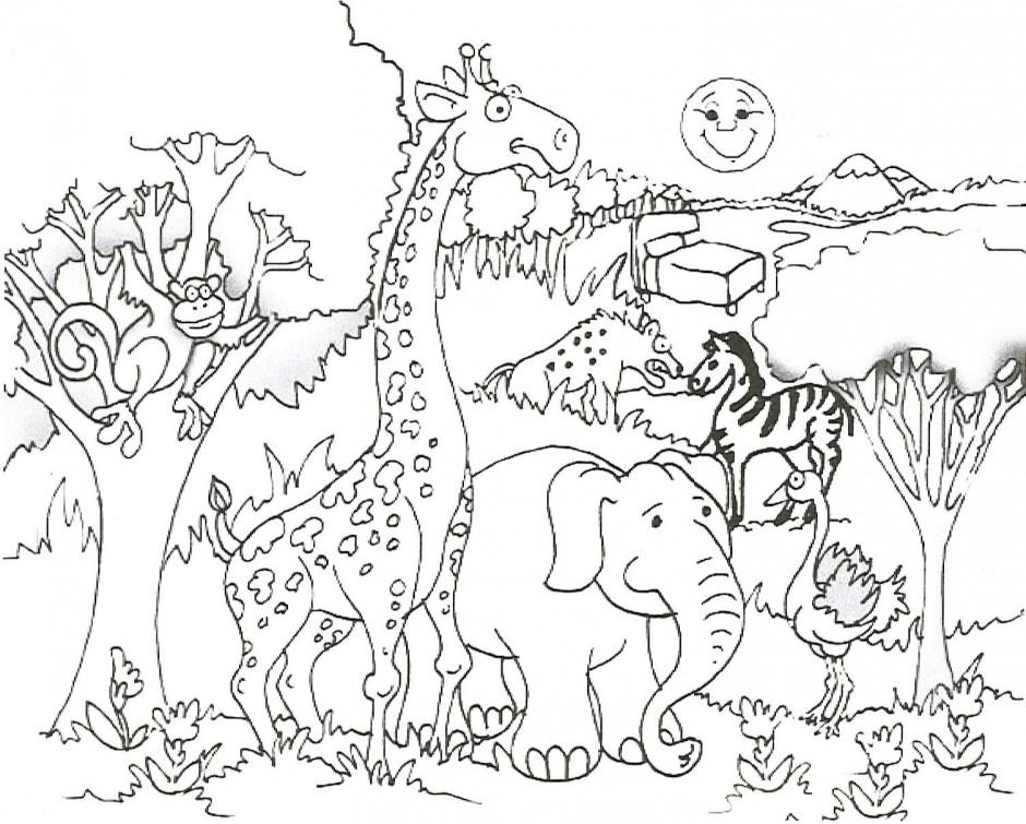 940x755 Preschool Jungle Coloring Pages With Giraffe Elephant Monkey Zebra
