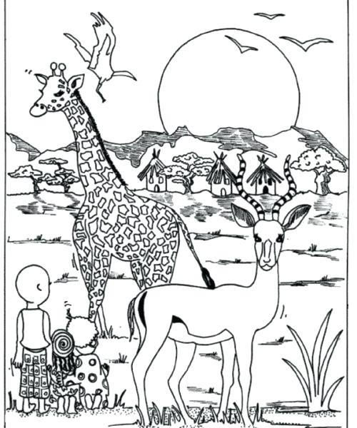 500x600 Africa Coloring Page