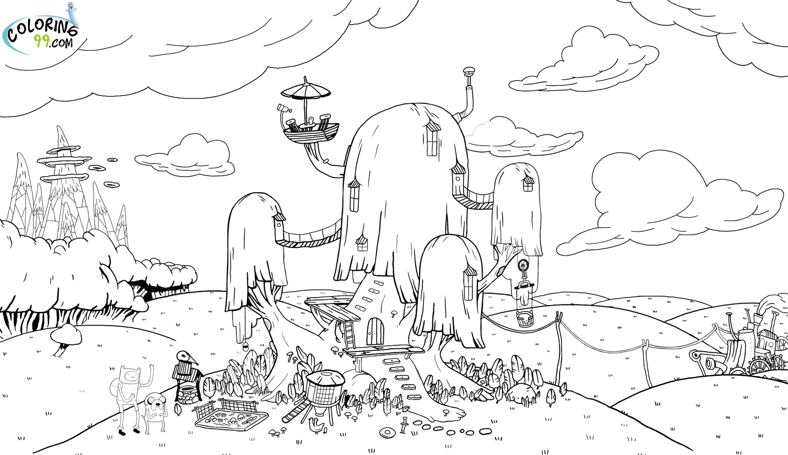 1600x925 Adventure Time Coloring Pages Tree House Gallery Coloring