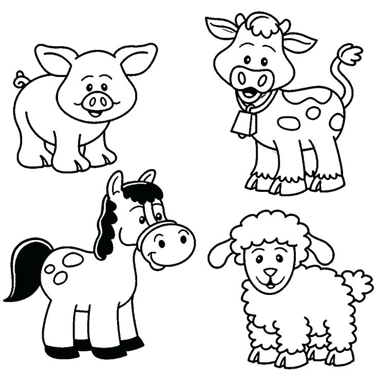 736x735 Farm Coloring Pages Baby Farm Animal Coloring Pages More Farm