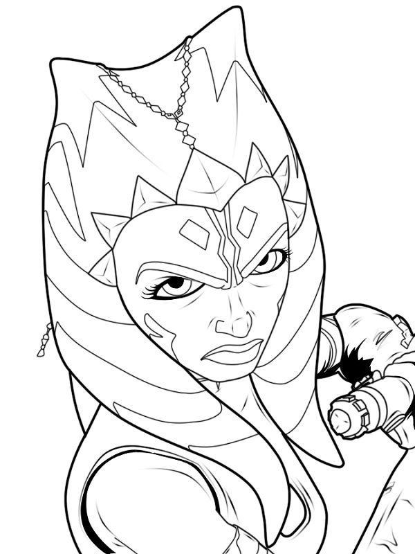 600x800 Black And White Coloring Pages Star Wars Ahsoka