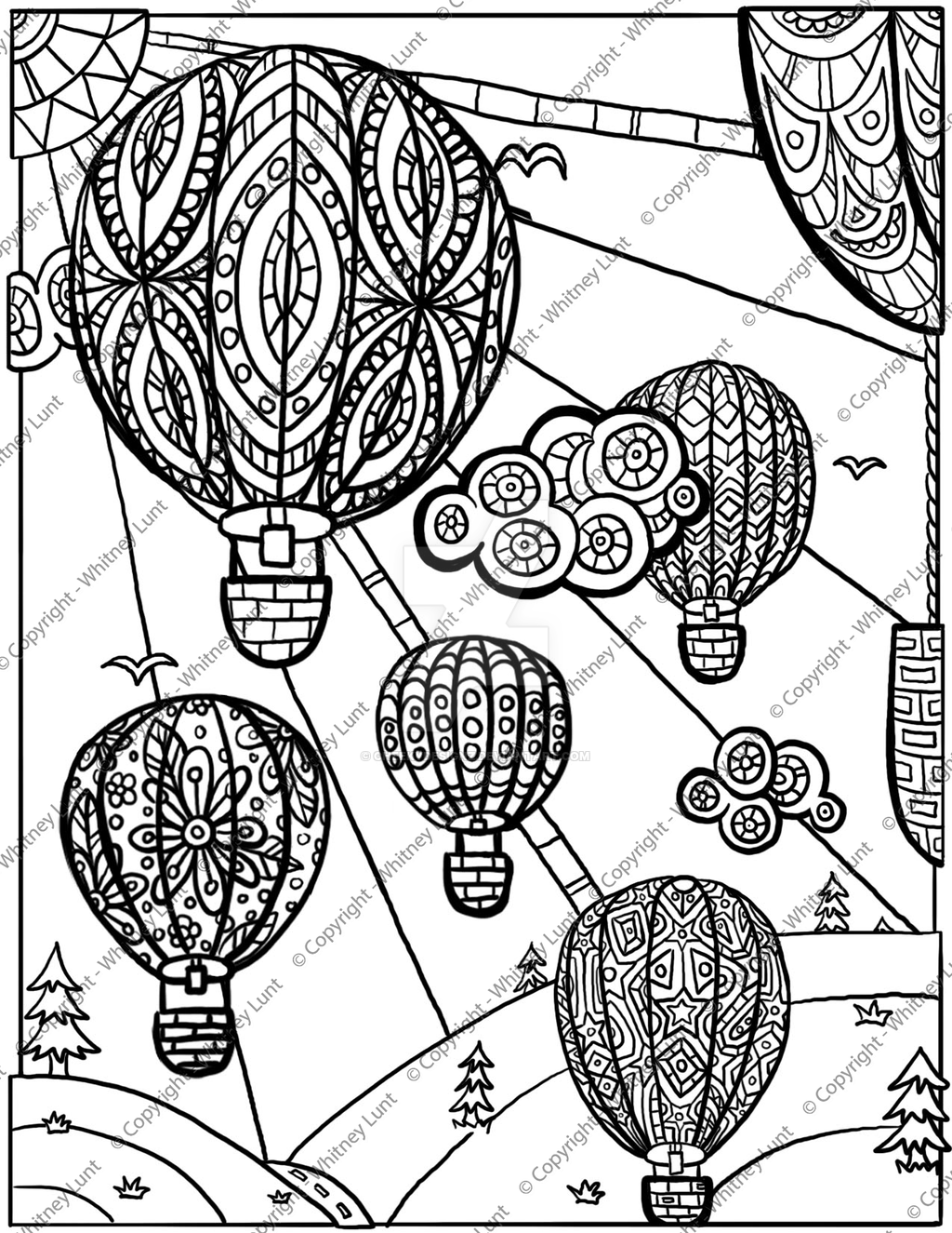 1024x1325 Hot Air Balloon Coloring Page