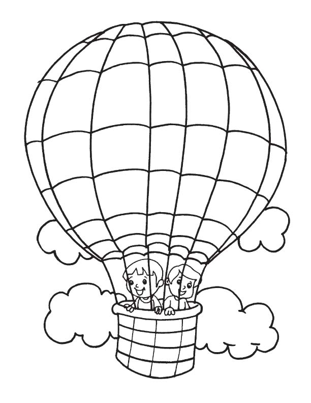 612x792 Kids In Hot Air Balloon Coloring Page Download Free For Pages Idea