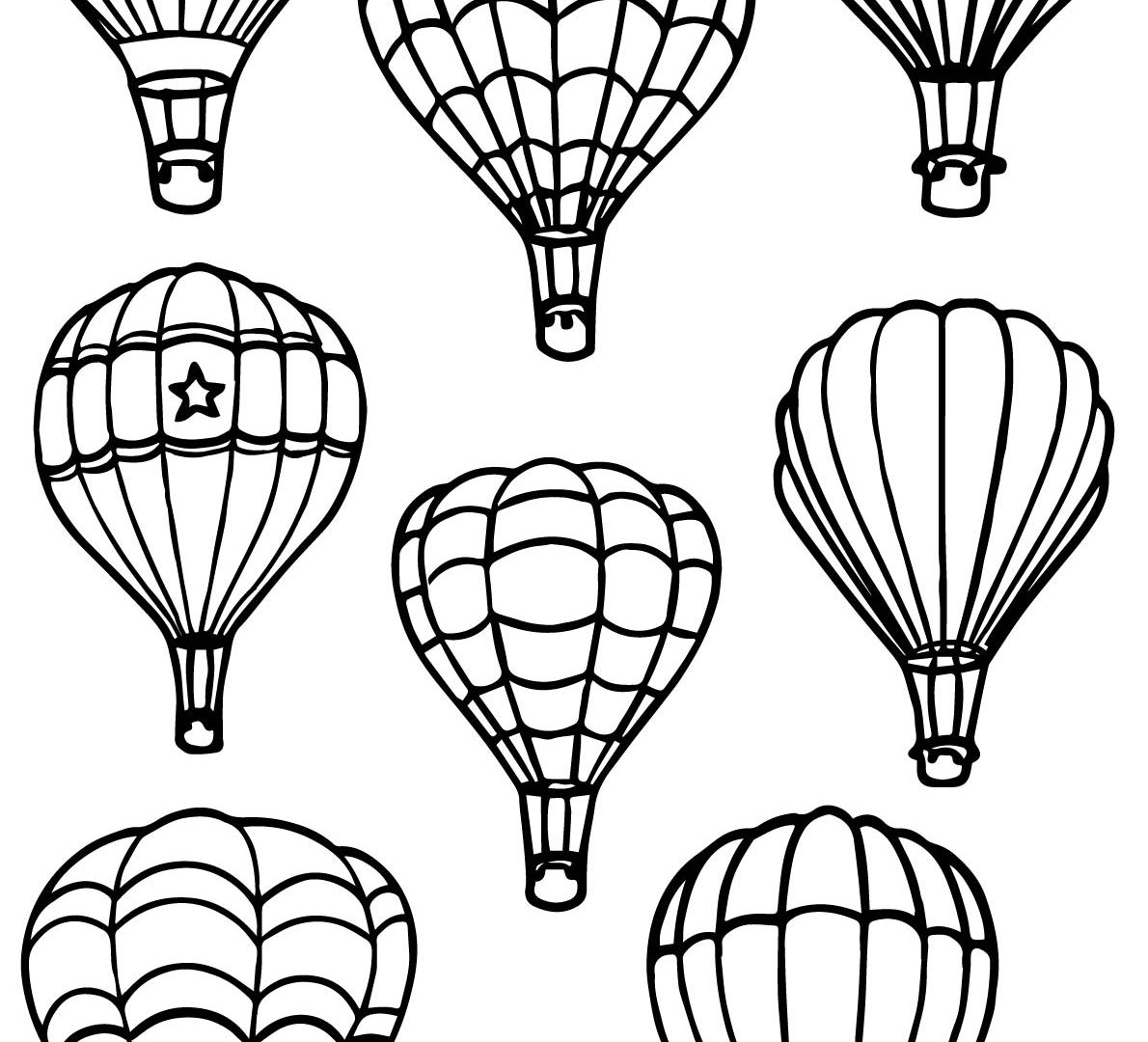 1190x1080 Best Hot Air Balloon Coloring Pages For Adult Images General