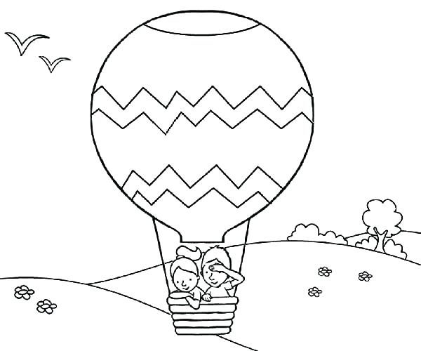 600x500 Balloons Coloring Page Hot Air Balloon Colouring Page Blank Hot