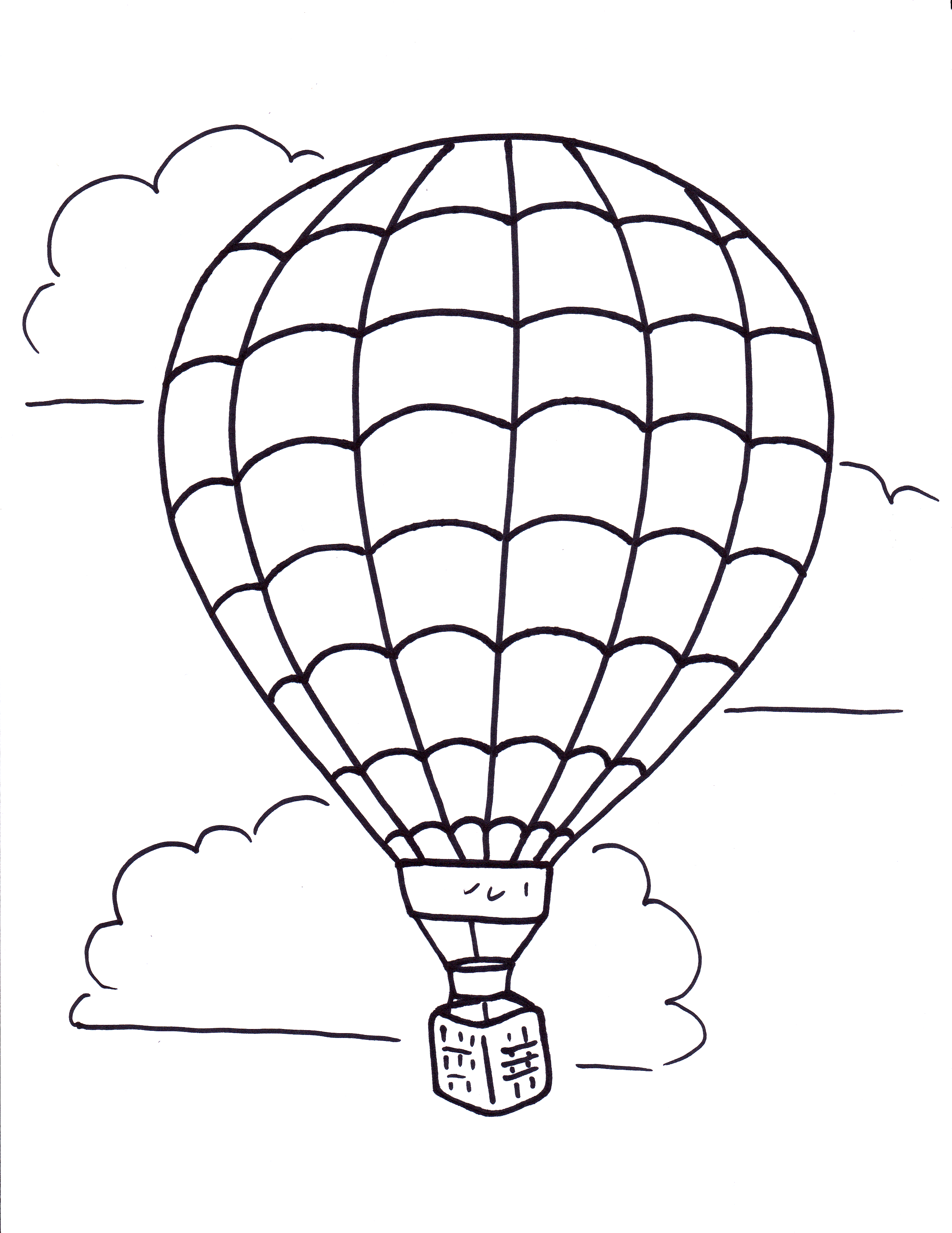 2550x3300 Hot Air Balloon Coloring Pages