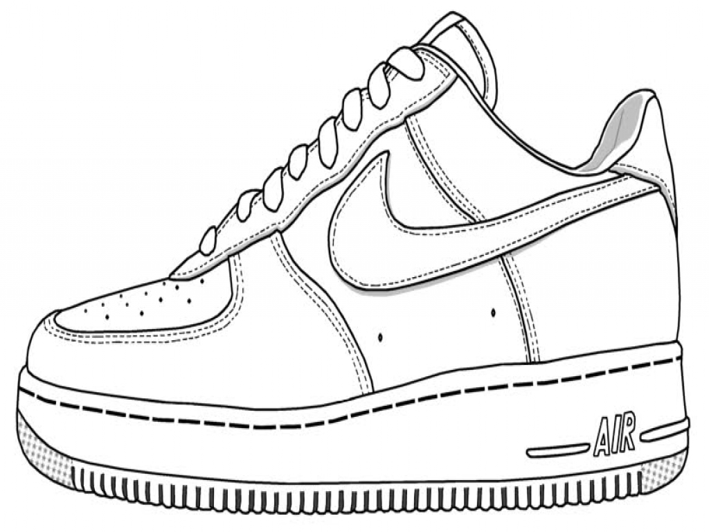 1024x768 Coloring Shoe Design One Nike Pages On White Jordan Shoes