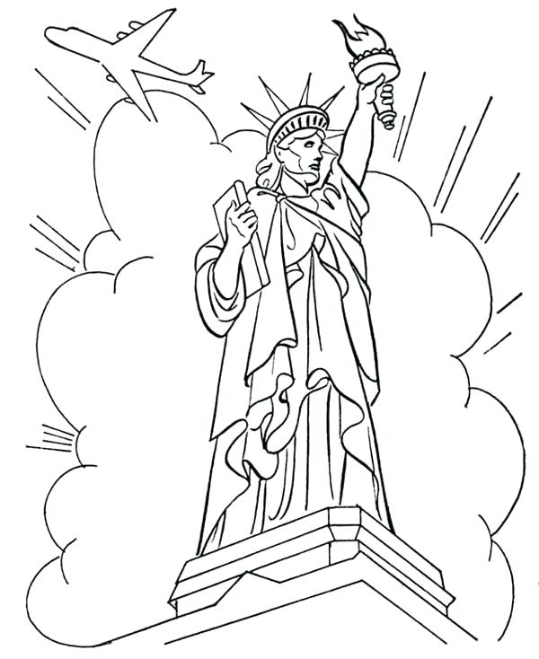 600x734 Air Force Coloring Pages Statue Of Liberty In Front Of Cloud