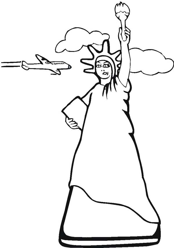 600x856 Statue Of Liberty And Air Force One Coloring Page
