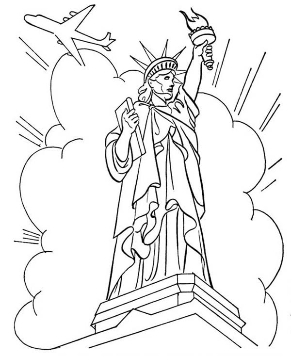 600x734 Statue Of Liberty In Front Of Cloud And Air Force One Coloring