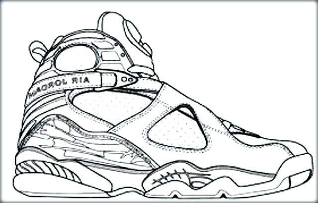 640x408 Shoes Color Pages Drawn Shoe Retro Nike Jordan Coloring Pages