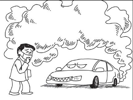 430x323 Air Pollution From Cars Drawing