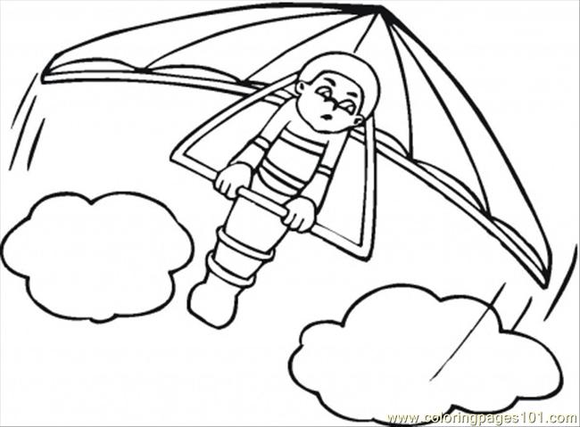 650x479 Hang Glider Coloring Page